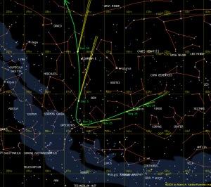 Trajectòria del cometa ISON al cel pels propers dies (font: starsandstones.wordpress.com)