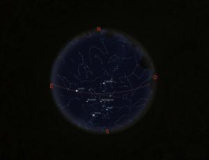 Simulació del cel del 15 de març a les 21.30h