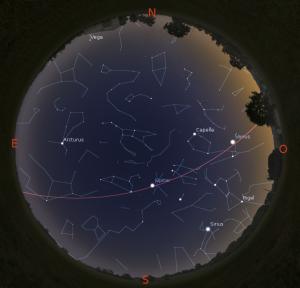 Simulació del cel del 15 d'abril a les 21:30h