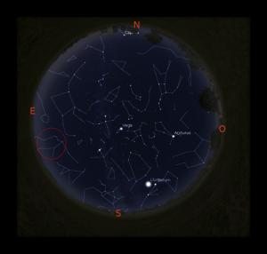 Constel·lació d' Aquari,. Dia 6 de maig a les 4h00m.