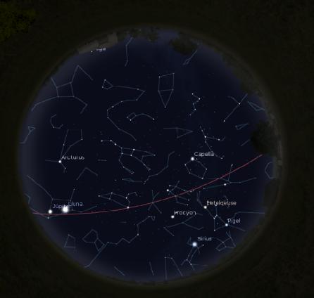 Simulació del cel del 15 de febrer a les 00:01h